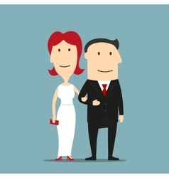 Man in suit and woman in evening dress vector image vector image