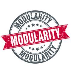 Modularity round grunge ribbon stamp vector