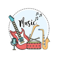 Musical instruments to play music vector