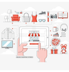 Online shopping stores concept vector image