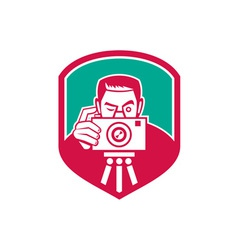 Photographer Shooting Camera Shield Retro vector image vector image