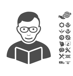 Reader icon with tools bonus vector