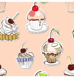 seamless background with cake vector image