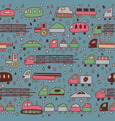 Seamless pattern with fun transport vector