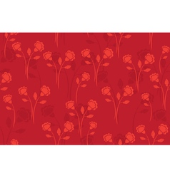 Seamless red pattern with flowers vector
