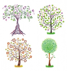 set of beautiful trees vector image
