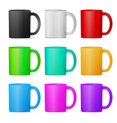 Set of mugs of various colors eps10 vector
