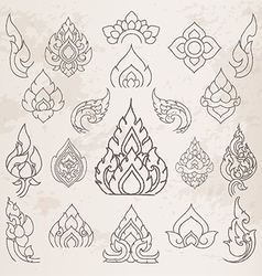 Sketch thai arts pattern and design elements vector