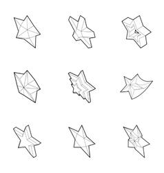 Star icons set outline style vector