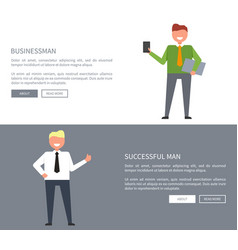 successful businessman set of icons for web page vector image vector image