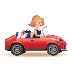 Surprised woman driving car vector image