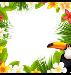 tropical frame with frangipani vector image vector image