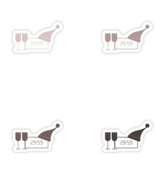Set of paper stickers on white background clock vector image