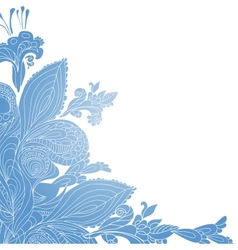Vintage blue floral ornament background vector image