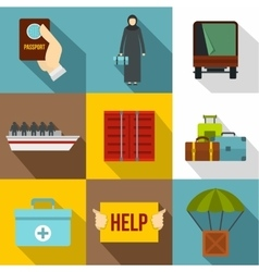 People refugees icons set flat style vector image