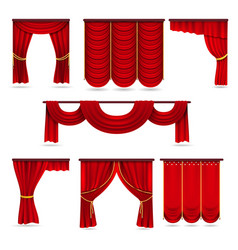 Silk red room curtains velvet scarlet fabric vector