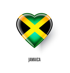 Patriotic heart symbol with jamaica flag vector