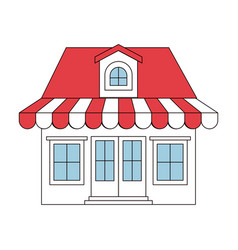 Color sections silhouette of store with awning and vector