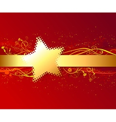 Red background with gold stripe vector image