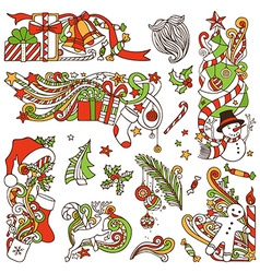 set of Christmas design elements vector image