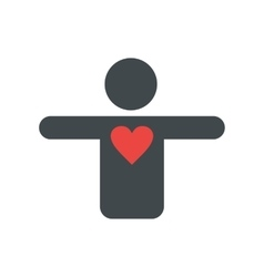 Silhouette of a man with a heart flat icon vector