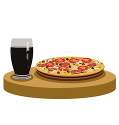 Cola and delicious pizza vector