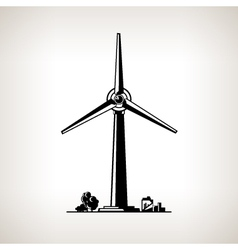 Silhouette wind turbine vector