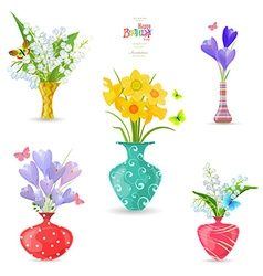 Collection of vases with fine spring flowers for vector