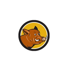 Wild boar razorback head startled circle cartoon vector