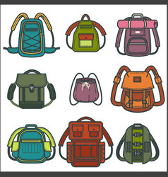 Backpacks or rucksack isolated icons for vector