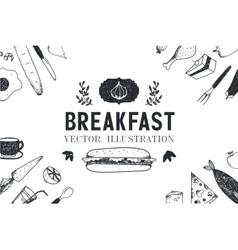 Breakfast food hand drawn vector