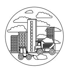 building set city landscape construction with dump vector image vector image