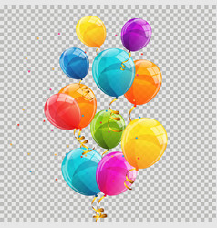 color glossy balloons transparent background vector image