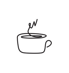 Continuous one line drawing of a cup of coffee vector
