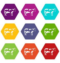 cow icon set color hexahedron vector image vector image