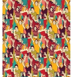 Crowd active happy people seamless color pattern vector image vector image
