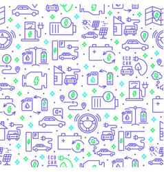 electric car outline seamless pattern vector image