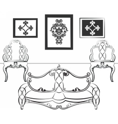 Elegant interior set with leather furniture vector