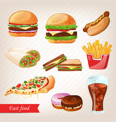 Fast food colorful cartoon icon set vector