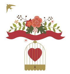 Floral design with birds cage vector image vector image