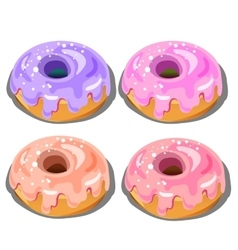 Four delicious donuts with different fillings vector image
