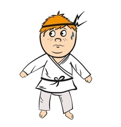 Karate cartoon kid red head with black belt vector image