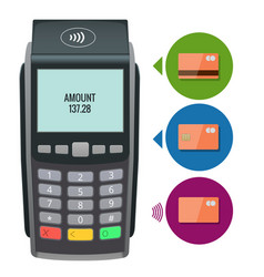 payment machine and credit card pos vector image vector image