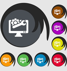 Repair computer icon sign symbols on eight colored vector