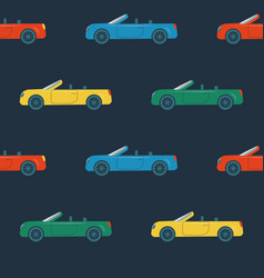 Seamless pattern with cabriolet cars vector
