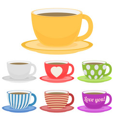 Set of color cup flat vector
