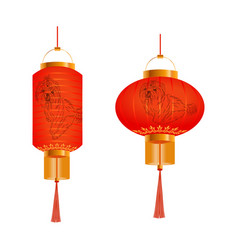 set of orange chinese lanterns with a picture of a vector image vector image