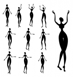 silhouettes of African women vector image