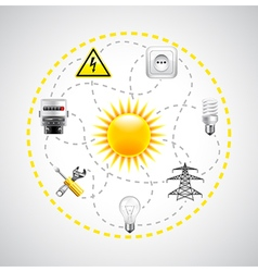 Sun and electricity tools connected with dotted vector