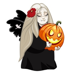 vampire girl with pumpkin vector image vector image